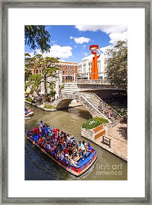 San Antonio Riverwalk And Torch Of Friendship In The Summer - San Antonio Texas Framed Print by Silvio Ligutti