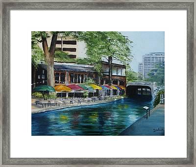 San Antonio Riverwalk Cafe Framed Print by Stefon Marc Brown