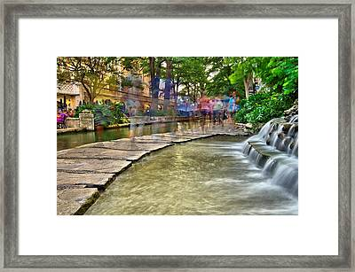 San Antonio Riverwalk Slomo Framed Print by Silvio Ligutti