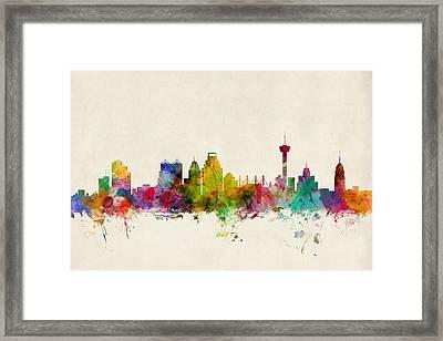 San Antonio Texas Skyline Framed Print by Michael Tompsett