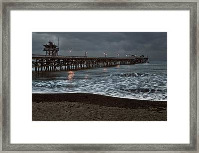 San Clemente Pier Dawn Framed Print by Joan Carroll