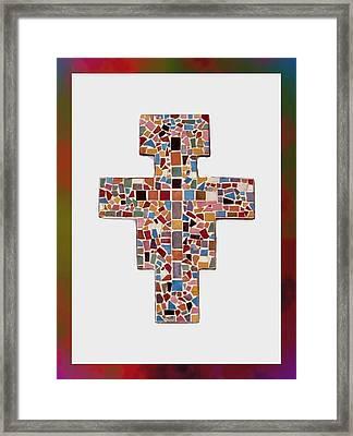 San Damiano Mosaic Cross  Framed Print by Edward Joseph Anthony