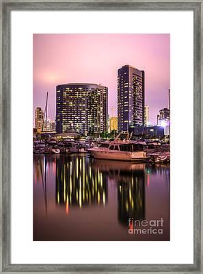San Diego At Night At Embarcadero Marina Framed Print by Paul Velgos