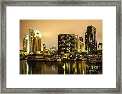 San Diego At Night With Luxury Yachts Framed Print by Paul Velgos