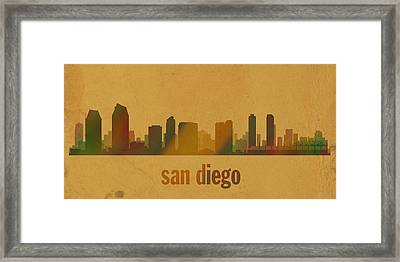 San Diego California City Skyline Watercolor On Parchment Framed Print by Design Turnpike