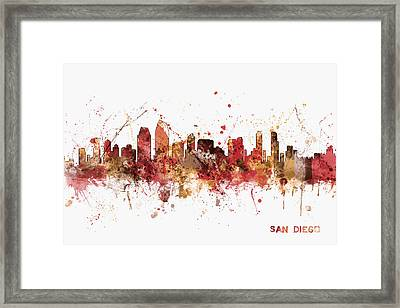San Diego California Skyline Framed Print by Michael Tompsett