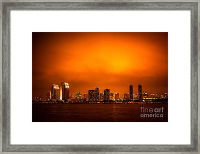 San Diego Cityscape At Night Framed Print by Paul Velgos