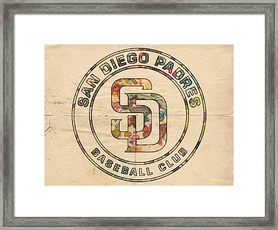 San Diego Padres Logo Art Framed Print by Florian Rodarte