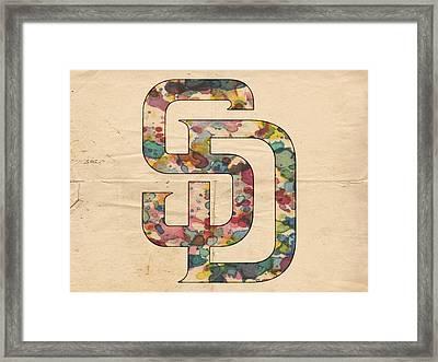 San Diego Padres Logo Vintage Framed Print by Florian Rodarte