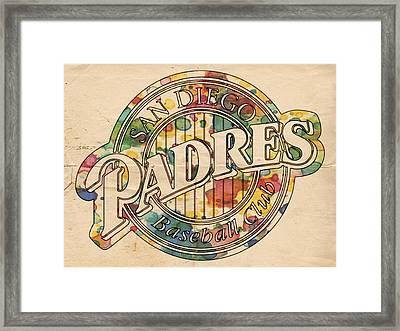 San Diego Padres Poster Art Framed Print by Florian Rodarte