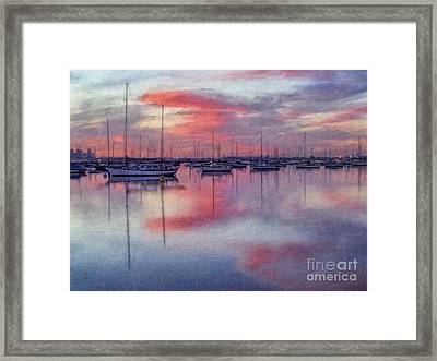 San Diego - Sailboats At Sunrise Framed Print by Lianne Schneider