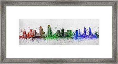 San Diego Skyline Framed Print by Aged Pixel
