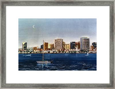 San Diego Skyline At Dusk Framed Print by Mary Helmreich