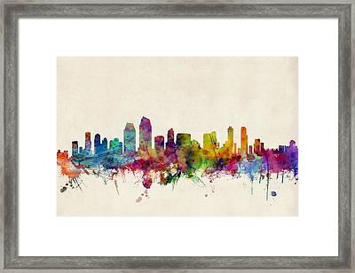 San Diego Skyline Framed Print by Michael Tompsett