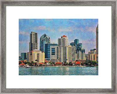 San Diego Skyline Framed Print by Peggy Hughes