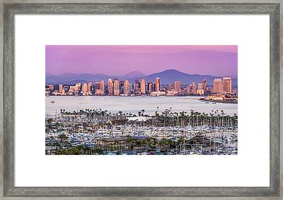San Diego Sundown - San Diego Skyline Photograph Framed Print by Duane Miller