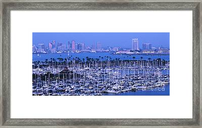 San Diego Twilight Framed Print by Sandra Bronstein