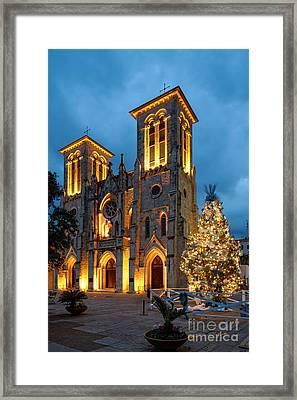 San Fernando Cathedral And Christmas Tree Main Plaza - San Antonio Texas Framed Print by Silvio Ligutti