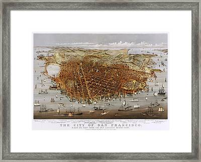 Antique San Francisco Map 1878 Framed Print by Mountain Dreams