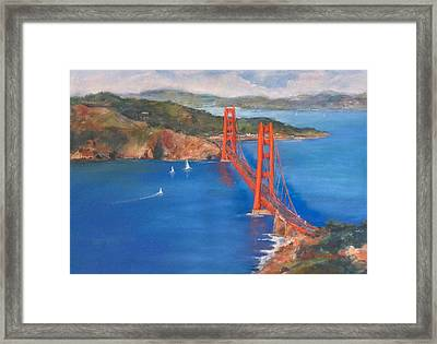 San Francisco Bay Bridge Framed Print by Hilda Vandergriff