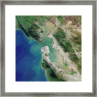 San Francisco Bay Framed Print by Jesse Allen And Robert Simmon/u.s. Geological Survey/nasa