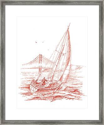 San Francisco Bay Sailing To Golden Gate Bridge Framed Print by Irina Sztukowski