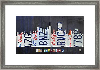 San Francisco California Skyline License Plate Art Framed Print by Design Turnpike