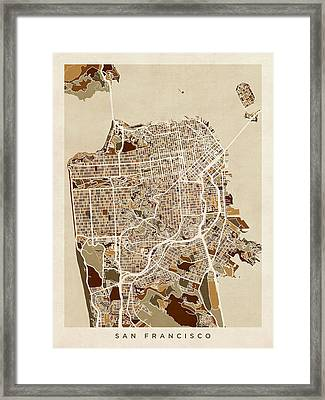 San Francisco City Street Map Framed Print by Michael Tompsett