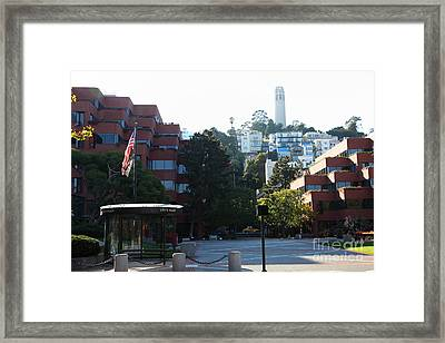 San Francisco Coit Tower At Levis Plaza 5d26186 Framed Print by Wingsdomain Art and Photography