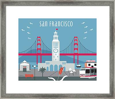 San Francisco Ferry Building Framed Print by Karen Young