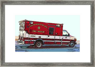 San Francisco Fire Dept. Medic Vehicle Framed Print by Samuel Sheats