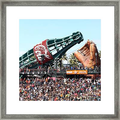 San Francisco Giants Baseball Ballpark Fan Lot Giant Glove And Bottle 5d28241 Square Framed Print by Wingsdomain Art and Photography