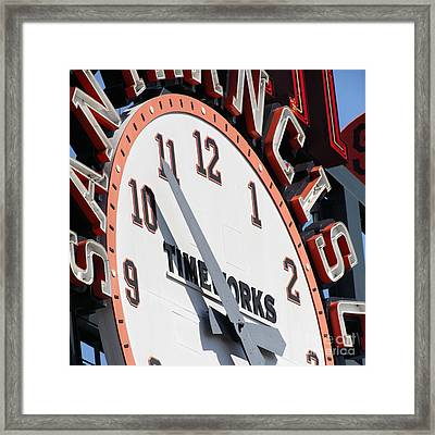 San Francisco Giants Baseball Scoreboard And Clock 5d28234 Square Framed Print by Wingsdomain Art and Photography
