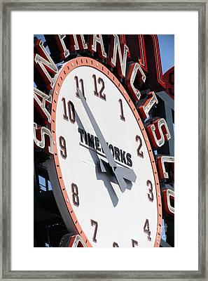 San Francisco Giants Baseball Scoreboard And Clock 5d28234 Framed Print by Wingsdomain Art and Photography