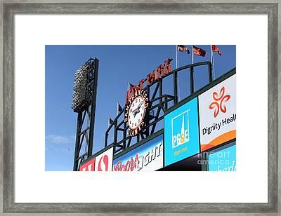 San Francisco Giants Baseball Scoreboard And Clock 5d28240 Framed Print by Wingsdomain Art and Photography