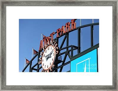 San Francisco Giants Baseball Scoreboard And Clock 5d28243 Framed Print by Wingsdomain Art and Photography