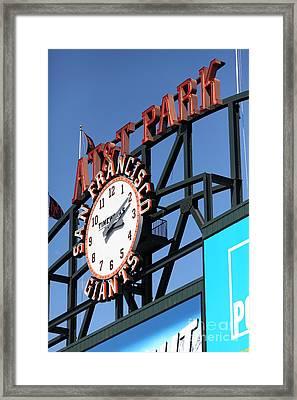 San Francisco Giants Baseball Scoreboard And Clock 5d28244 Framed Print by Wingsdomain Art and Photography
