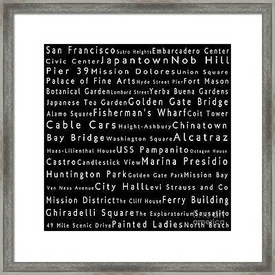 San Francisco In Words Black Framed Print by Sabine Jacobs