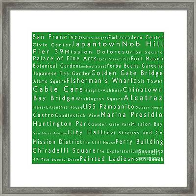 San Francisco In Words Green Framed Print by Sabine Jacobs