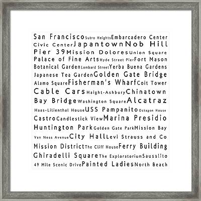 San Francisco In Words White Framed Print by Sabine Jacobs