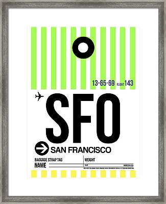 San Francisco Luggage Tag Poster 2 Framed Print by Naxart Studio