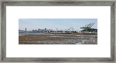 San Francisco Skyline And The Bay Bridge Through The Port Of Oakland 5d22238 Framed Print by Wingsdomain Art and Photography
