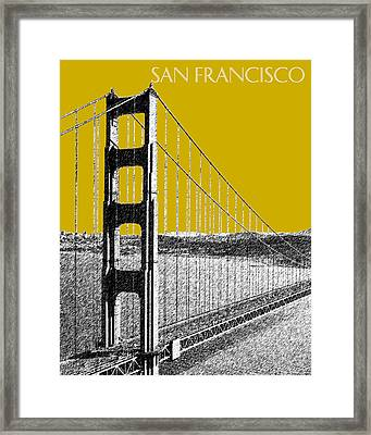 San Francisco Skyline Golden Gate Bridge 1 - Gold Framed Print by DB Artist