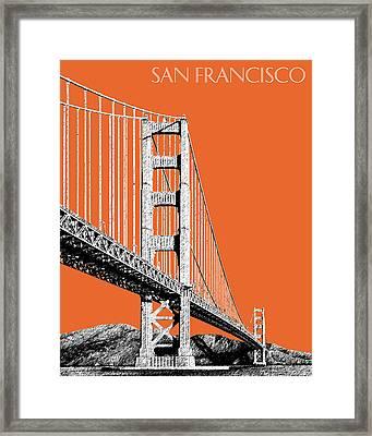 San Francisco Skyline Golden Gate Bridge 2 - Coral Framed Print by DB Artist