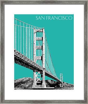 San Francisco Skyline Golden Gate Bridge 2 - Teal Framed Print by DB Artist