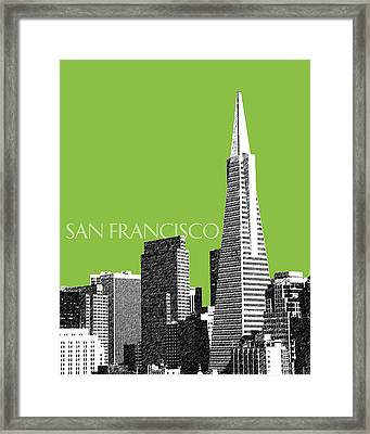 San Francisco Skyline Transamerica Pyramid Building - Olive Framed Print by DB Artist