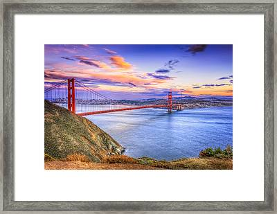 San Francisco Sunset And The Golden Gate Bridge From Marin Headlands Framed Print by The  Vault - Jennifer Rondinelli Reilly