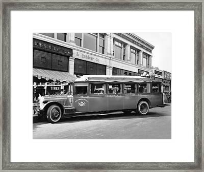 San Francisco To Portland Bus Framed Print by Keystone Photo Service
