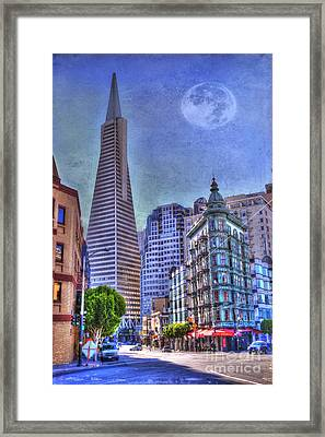 San Francisco Transamerica Pyramid And Columbus Tower View From North Beach Framed Print by Juli Scalzi