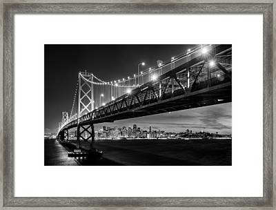 San Francisco - Under The Bay Bridge - Black And White Framed Print by Alexis Birkill